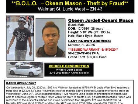 Okeem Jordell-Denard Mason is wanted by Port St Lucie Police Department