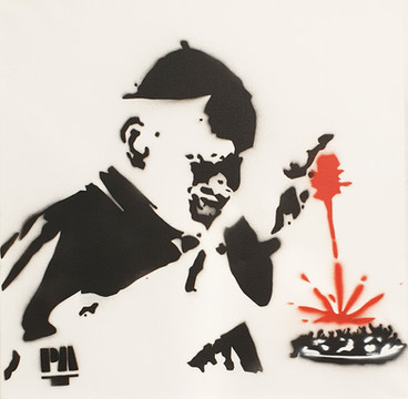 stencil su tela, 50x50, 2019