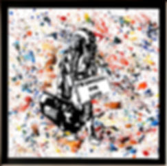 acrilici e spray su tela cornice bianca laccata, 50x50, 2019