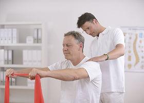 Physiotherapy: Senior man doing exercise
