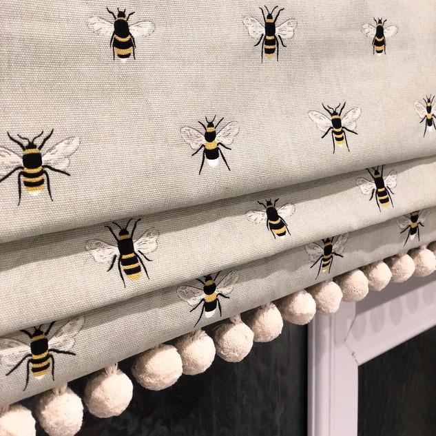 Bee Pom Pom Roman Blind