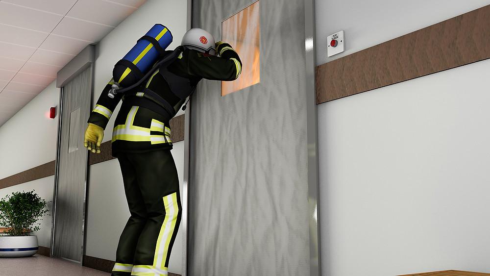 Firefighter looking through ResQ Window