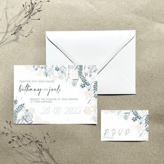 Wedding Invitation - Floral Blues & Greys