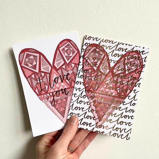 Heart - Foiled Postcard