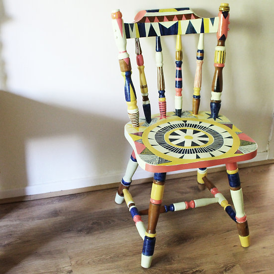 Hand Painted Chair - Cream/Pink/Blue/Yellow