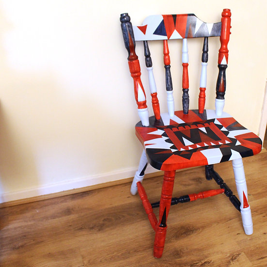 Hand Painted Chair - Red/Blue