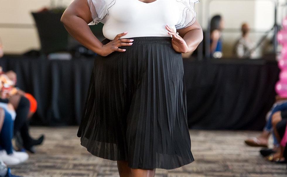 Metallic Shimmer Pleated Maxi Skirt