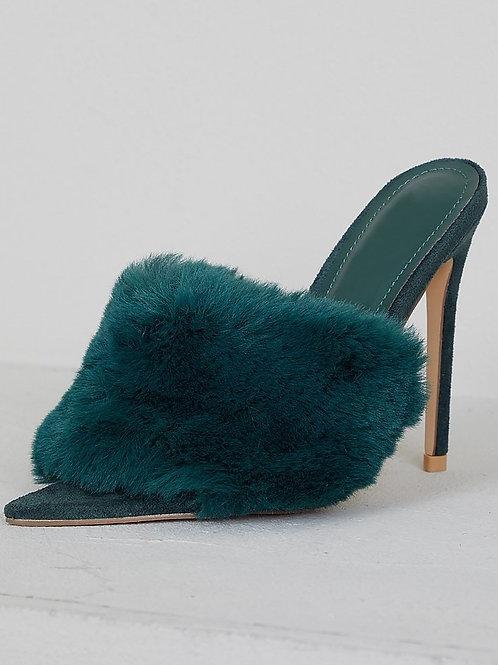 Faux Fur Heels (Green)