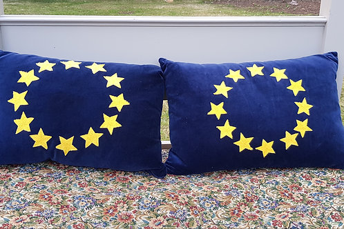 Navy Blue Velvet European Union Flag Cushion