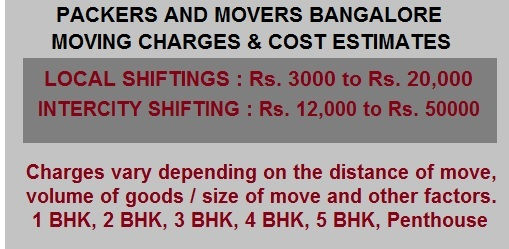 Packers Movers Bangalore charges