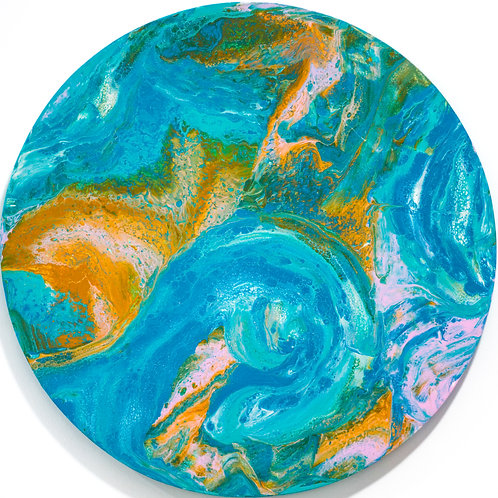 'Planet' Original Circle Canvas