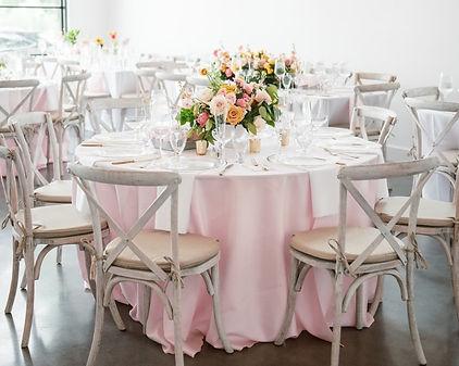 blush polyester tablecloth napkin runner