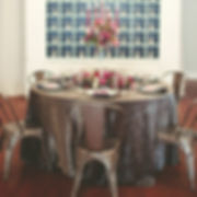 AM Linen Rental Platinum crushed iridescent satin tablecloths