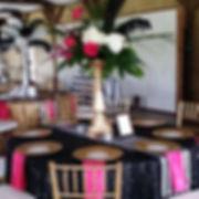 Black Sequin Tablecoth Stripe Runner Fuchsia Napkin