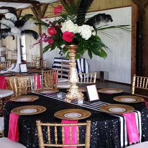 Black Sequin Tablecoth Stripe Runner Fuchsia Napkin