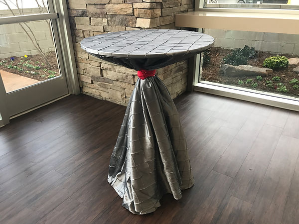 silver pintuck tablecloth runner rentals