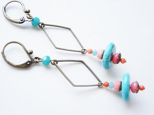 boucles d'oreilles geneve turquoise