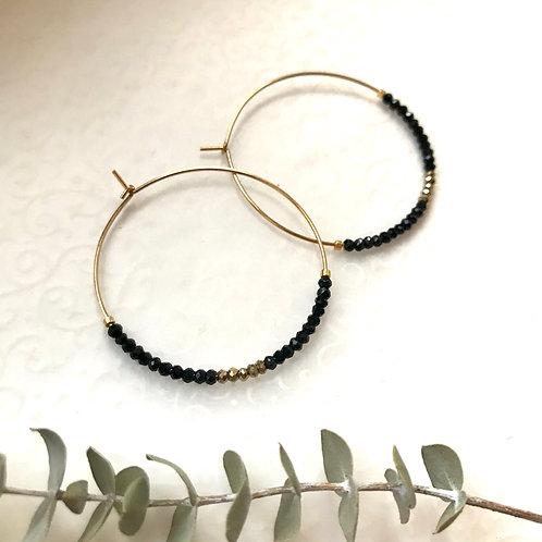 créoles noires strass originales plaqué or