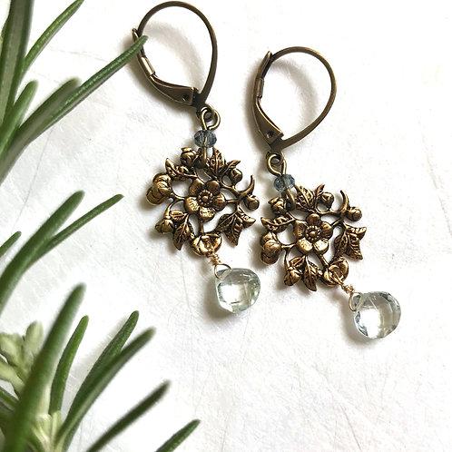 quartz rose boucles d'oreilles earrings