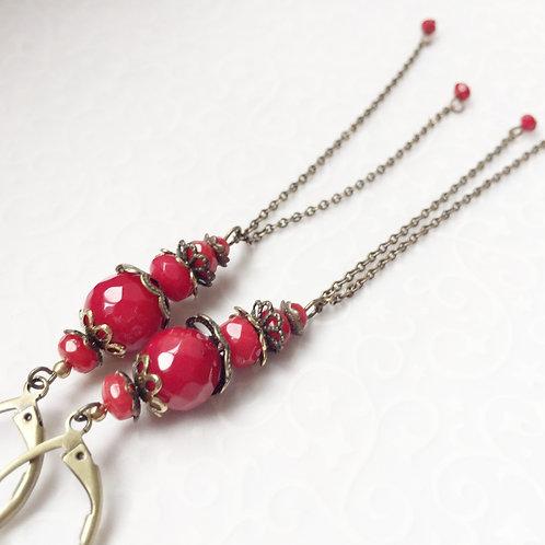 boucles oreilles longues rouges bambou corail bijoux originales geneve