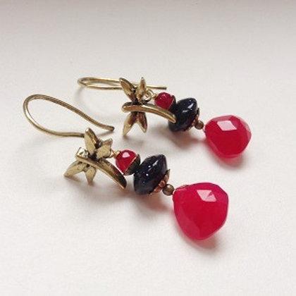 boucles d'oreilles rose jade  libellule lullaby dormeuses
