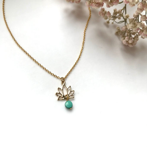 pendentif fleur de lotus plaqué or