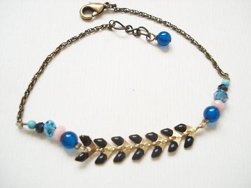 bracelet fin noir genève chaine émaillée