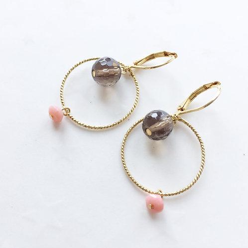 boucles d'oreilles quartz or dormeuses anneaux