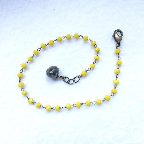bracelet strass jaune et pyrite