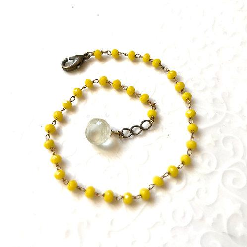 bracelet jaune en strass quartz