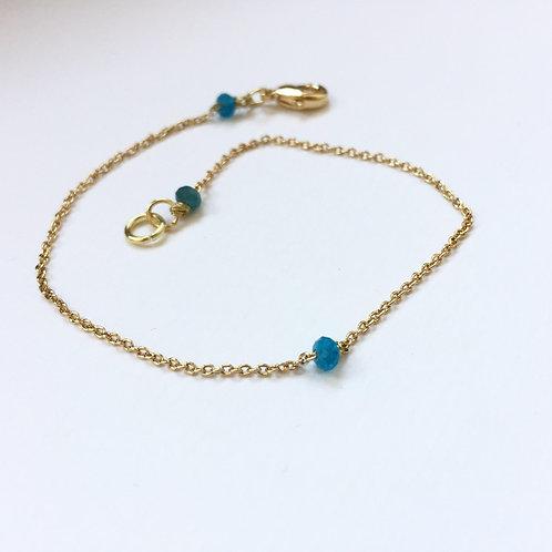 bracelet chaine fine or pierre précieuse