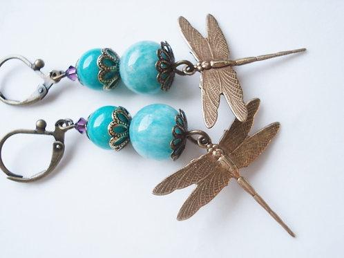 boucles d'oreilles libellule lullaby geneve artisanat piece unique