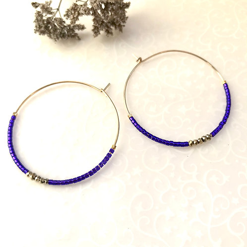 créoles bijoux violet geneve branché original fait main
