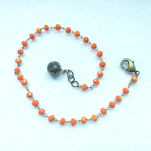 bracelet en strass orange et pyrite (pierre semi-précieuse)