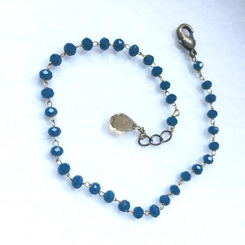 bracelet fin en strass et pierre fine