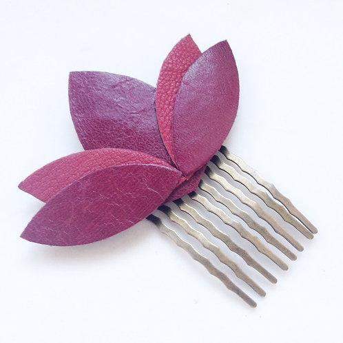 peigne cuir bordeau rose vintage bijou de cheveux