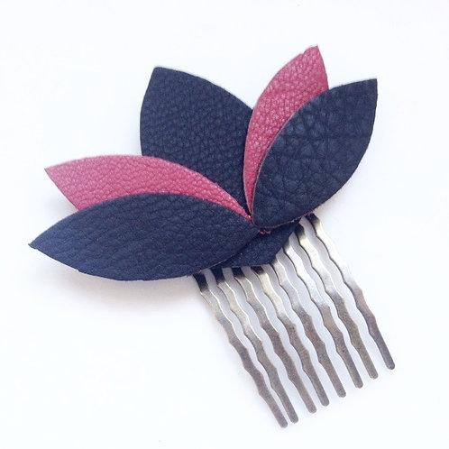 peigne cuir bijoux de cheveux rose noir