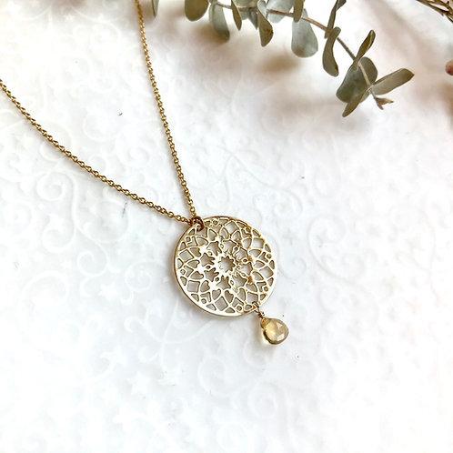médaille Mandala et citrine