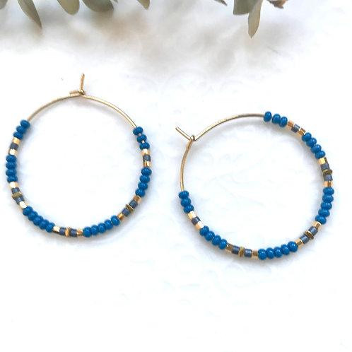 créoles bleues plaqué or geneve