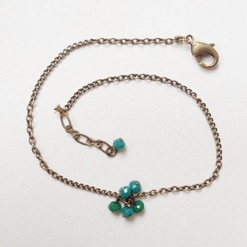 bracelet fin bleu vert geneve fait main strass