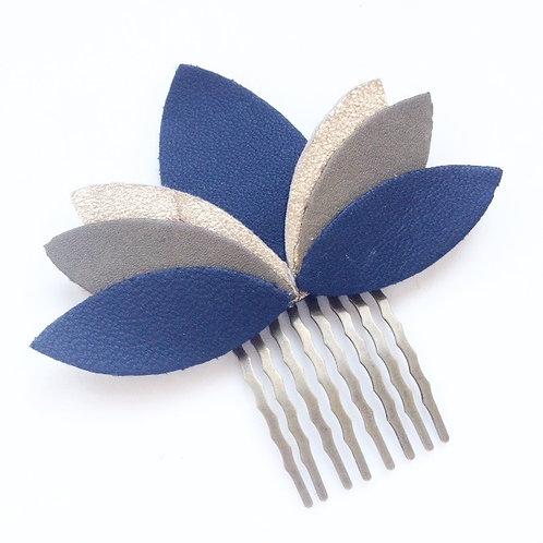 peigne cuir bijoux cheveux bleu noir