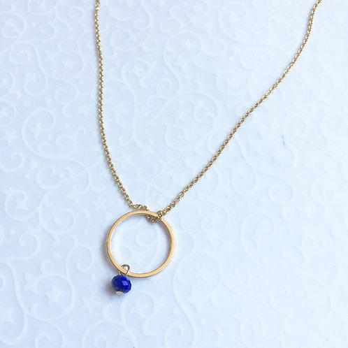 chaine fine et pendentif anneau plaqué or