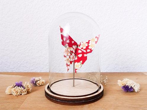 Papillon japonais rouge/doré sous cloche