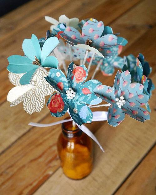 Bouquet fleurs de cerisiers - Bleu canard