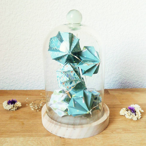 Guirlande lumineuse de diamants sous cloche - Vert/Gris