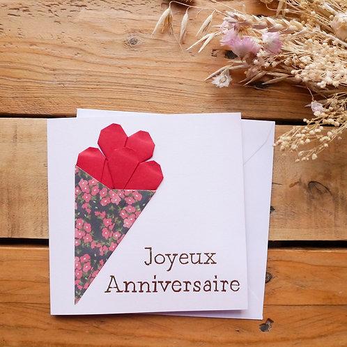 Cornet de cœurs - Fleurs roses