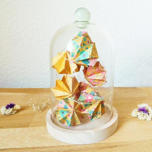 Guirlande lumineuse de diamants sous cloche - Jaune moutarde