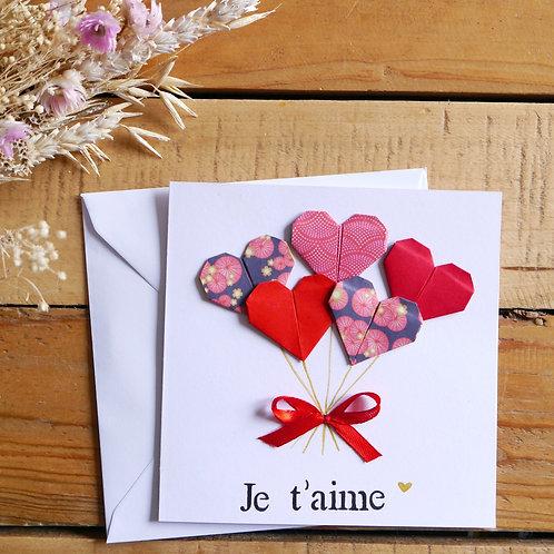 Carte bouquet de cœurs