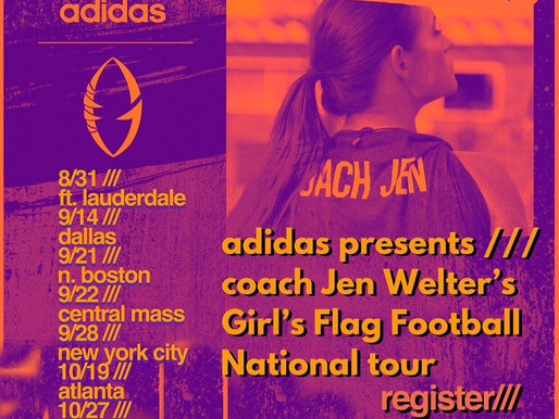 Fall Tour Dates Announced for Jen Welter Flag Football Camps Sponsored by adidas.