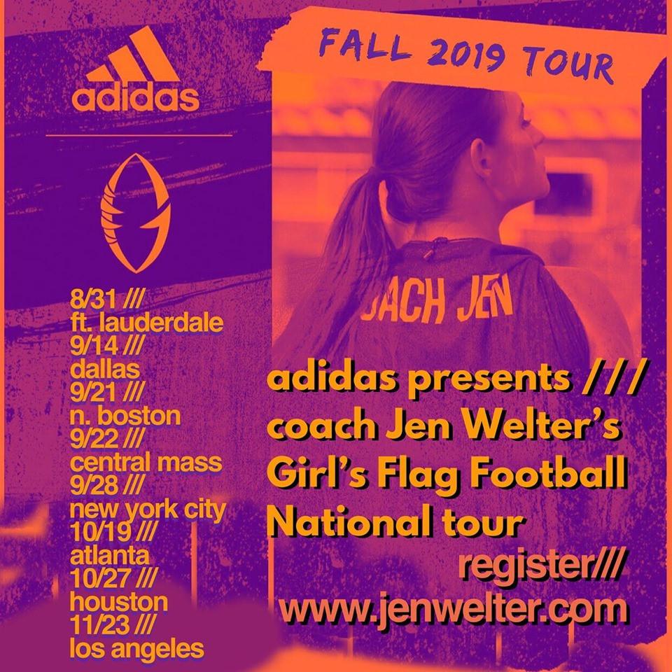 Jen Welter Football Camps Sponsored by adidas, los angeles, dallas, boston, new york, ft lauderdale, houston, atlanta
